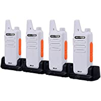 4-Pcs NKTECH NK-U1 UHF 400-470MHz 5W 16-Channels Mini Handheld Transceiver Two way Radio Walkie Talkie 3.7V 1500mAh Li-ion Batteries Accessories and Charging Dock White