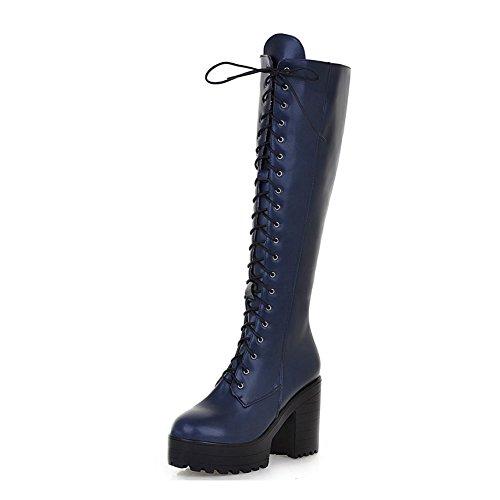Kaloosh Women's Platform Faux Leather Lace up Combat Zipper Closure Knee High Boots Blue