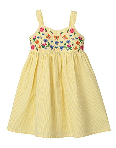 Beebay Yellow Stripe Embroidered Sundress From (Yellow, 4Y) (Embroidered Floral Sundress)