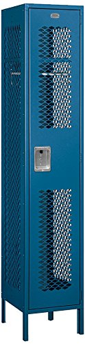 Salsbury Industries 81168BL-U Single Tier 15-Inch Wide 6-Feet High 18-Inch Deep Unassembled Extra Wide Vented Metal Locker, Blue -