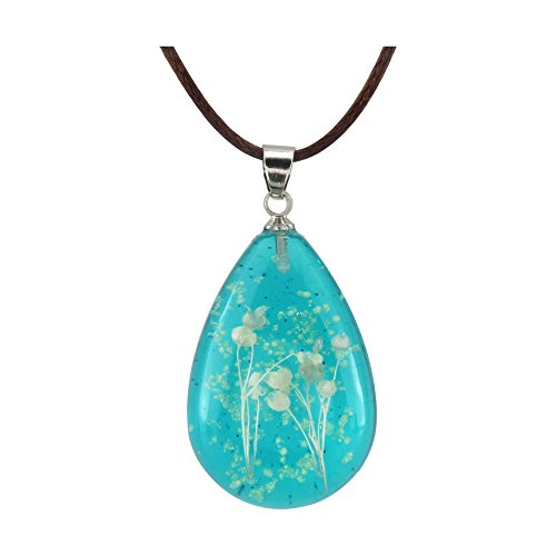 Glow Pendant Necklace - FM FM42 Natural White Pressed Dried Flower Glow in the Dark Blue Teardrop Pendant Necklace GN1225