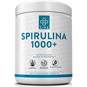 PIULIFE Spirulina 1000+ ● 500 Compresse da 1000mg ● Alga Naturale in Polvere Essiccata a Freddo ● Ricca di Clorofilla… 1 spesavip