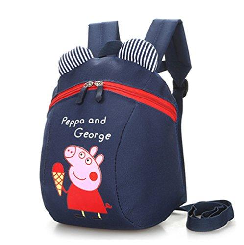(YOURNELO Kid's Peppa Pig Preschool Backpack Bookbag for Boys Girls (Navy)