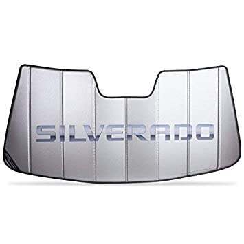 Insulated Silver SR1 Performance Chevy Silverado Logo Accordion Style Sunshade Chevy Trucks 2014-2019 No Lane Departure