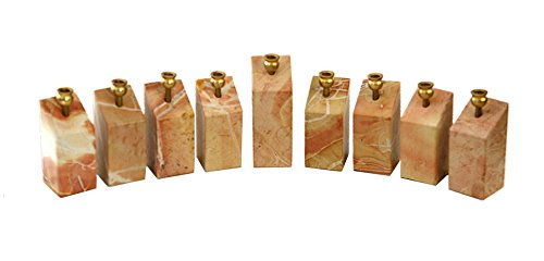 (Hanukkah Menorah Jerusalem Stone/Marble Kinetik Movable Pieces Smooth Surface Brass Gold Plated Candle Holders Hand Made In)