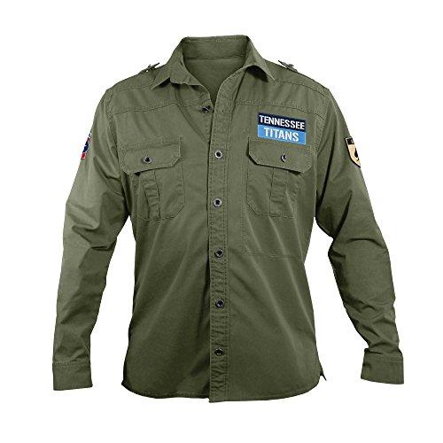 NFL Tennessee Titans Men's Military Field Shirt, - Pocket Shirt Titan