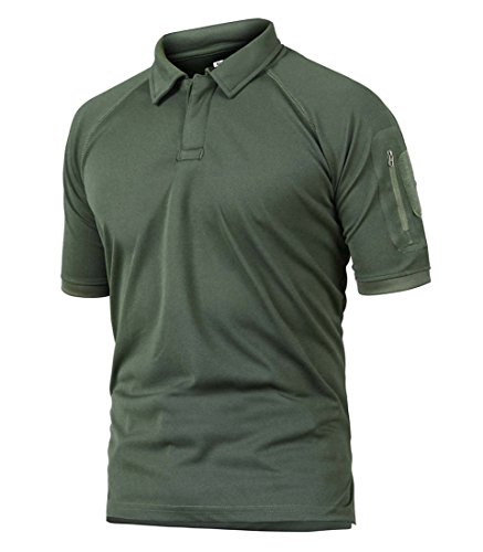 (TBMPOY Men's Military Tactical Polo Shirt Quick-Dry Short Sleeve Army Combat Pullover(ArmyGreen,us S))