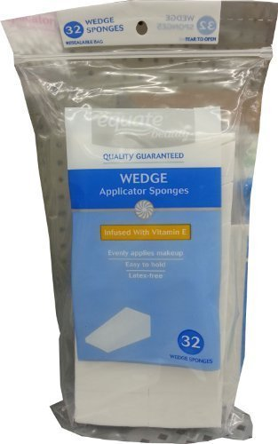 Equate Beauty Wedge Applicator Sponges Infused With Vitamin E, 32 Count. Evenly Applies Makeup. Latex-free. Disposable. High Quality, Professional Grade Cosmetic Applicators. Made in the USA.