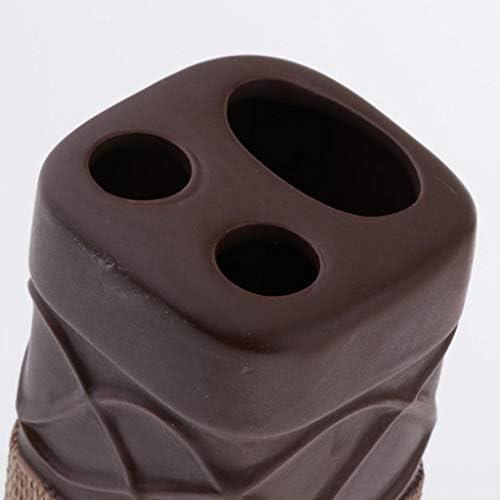 Fenteer 4ピース/個パックホームバスルームアクセサリーソープディッシュセラミックホワイト/チョコレート - チョコレート