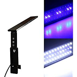 Xcellent Global 27 SMD LEDs Aquarium Light, Foldable Adjustable Dimmable White and Blue LEDs For Tank Size 12 to 23 inch