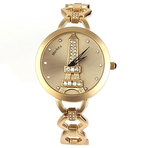 Fashion Women Lady Alloy Rhinestones Gems Gold Bracelet Quartz Wrist Watch Roman Paris Eiffel Tower Gray