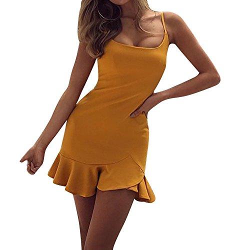 Vestidos Mujer Verano 2018 Vestido Corto Fiesta Mujer Elegante Vestido de Playa Casual Mini Vestir Ropa Sexy Ruffle Irregular Vestidos de Camisa Túnica para Mujeres Amarillo