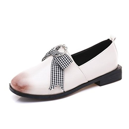 GIY Womens Classic Penny Loafers Flat Round Toe Slip-On Bowknot Casual Dress Loafer Oxford Shoes Beige 9sKsKM6J