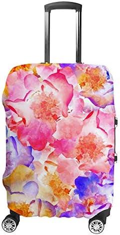 スーツケースカバー トラベルケース 荷物カバー 弾性素材 傷を防ぐ ほこりや汚れを防ぐ 個性 出張 男性と女性鮮やかな花のバラ