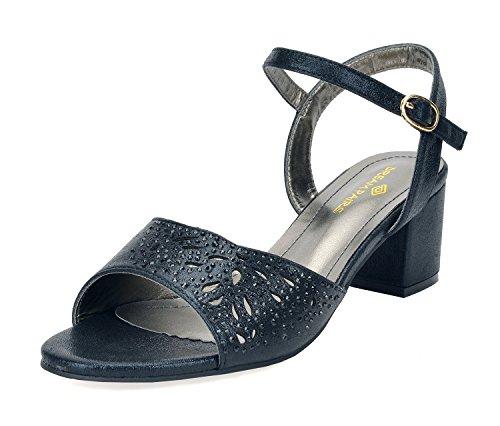 DREAM PAIRS Women's Mona_10 Black Fashion Block Heeled Sandals Size 11 B(M) US