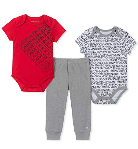 Cool Dress Up Ideas For Halloween (Calvin Klein Baby Boys 3 Pieces Bodysuit Pants Set, Red/Print/Gray, 0-3)