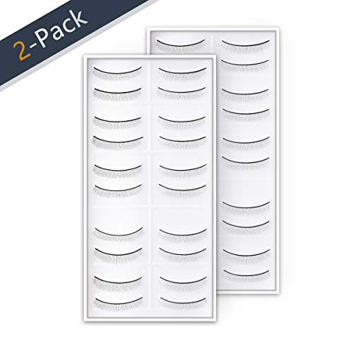 (20 Pairs Practice Eyelashes for Lash Extensions, Self Adhesive Training Lashes Strip for Beginner Teaching Lashes Extensions Supplies Perfect Use with eyelash mannequin head 2-Pack by SRCKFIZ)