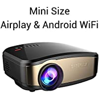 Wifi Mini Projector Portable Wireless For Android Phone Iphone 6 7 and more Ipad Xbox One Movie With HDMI AV TV VGA USB Headphone Jack Black By Cheerlux