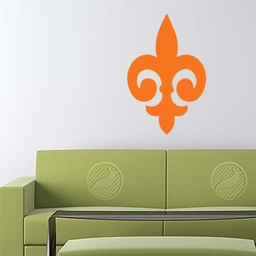 Fleur De Lis Decal Sticker (orange, 17 inch) removable for indoor wall - Fleur Decal Wall
