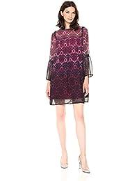 Women's Long Sleeve Printed Chiffon Shift Dress