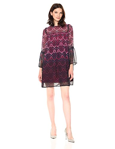 Nanette Nanette Lepore Women's Long Sleeve Printed Chiffon Shift Dress, Fuchsia kiss Multi, 12 ()