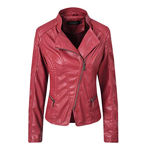 XL_nspiyi Women's embroidered women's jacket short motorcycle leather jacket