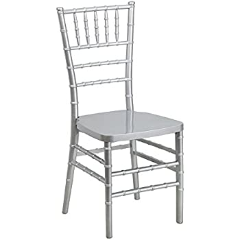 Offex OF-LE-SILVER-GG Flash Elegance Silver Resin Stacking Chiavari Chair
