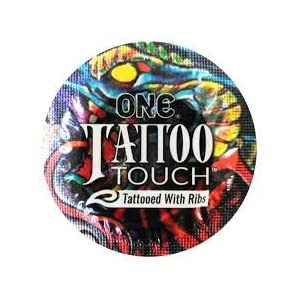 ONE Tattoo Touch Premium Lubricated Latex Condoms with Silver Pocket/Travel Case-24 Count