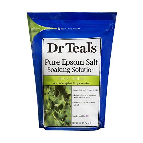 Dr Teal's Epsom Salt Soaking Solution, Relax & Relief, Eucalyptus and Spearmint, 6.9 Pound