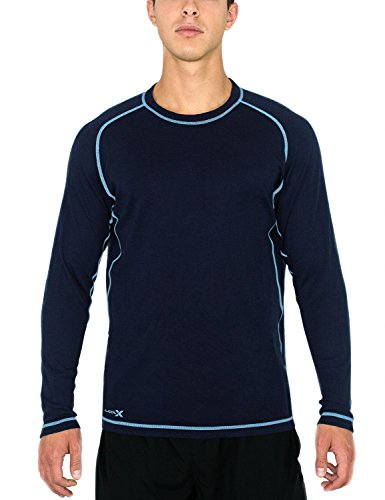 Mens Regular Merino Wool - Woolx Men's Merino Wool Shirt - Mid-Weight Base Layer Top  - Regular Fit - BLUELITE - XLG