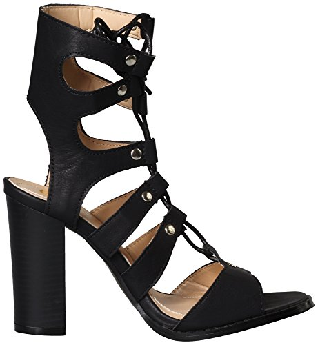 Chase & Chloe Womens Benjamin-4 Cutout Lace Up Stacked Heel Sandal Black pYL8W