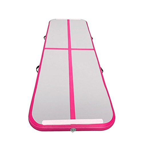 Homgrace Inflatable Gymnastics Mat, Inflatable Air Track Tumbling Mat Gym for Home/Cheer Leading/Beach / Park and Water (Rose red)