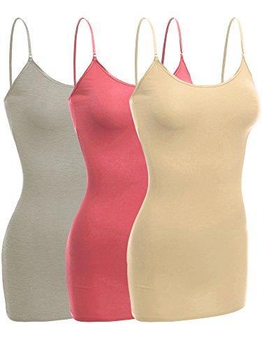(Emmalise Women Camisole Built in Bra Wireless Fabric Support Long Layering Cami, Medium, 3Pk DST Rose Khaki Lt Olive)