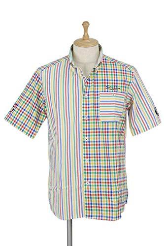 [シナコバ ジェノバ] メンズ 半袖ボタンダウンシャツ ストライプ柄×チェック柄 胸ポケット付き ゴルフウェア LL(LL) マルチ(980) B07SBL1C57