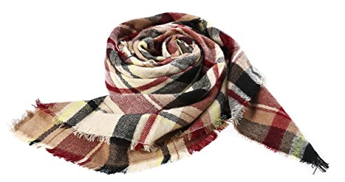 Trendy Women's Cozy Warm Winter Fall Blanket Scarf Stylish Soft Chunky Checked Giant Scarves Shawl Cape (One Size, Pink Scarf) by American Trends (Image #3)