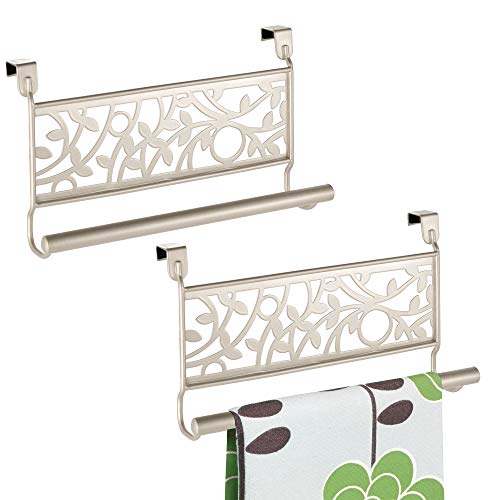 (mDesign Kitchen Over Cabinet Strong Steel Towel Bar, Decorative Organic Design - Hang on Inside or Outside of Doors, Storage and Organization for Hand, Dish, Tea Towels - 9