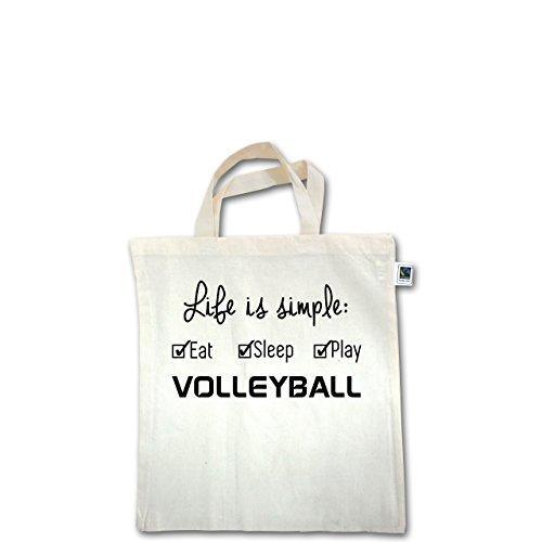 Volleyball - Life is simple Volleyball - Unisize - Natural - XT500 - Fairtrade Henkeltasche / Jutebeutel mit kurzen Henkeln aus Bio-Baumwolle