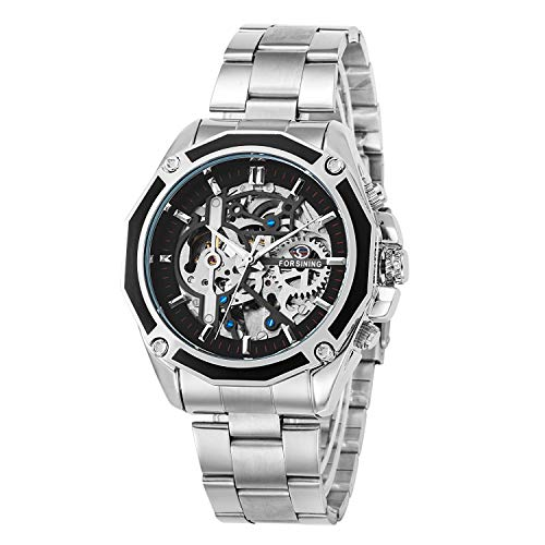 Gute Men Automatic Watch, Casual Silver Tone Auto Self Wind Mechanical Stainless Steel Fold-Over-Clasp Bracelet Watch ()