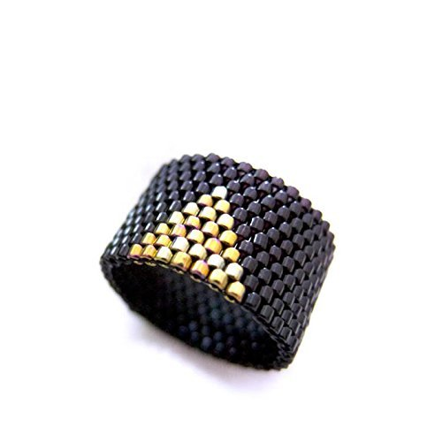 Cleopatra Black and Gold Triangle Beaded Ring (Cleopatra Ring Band)