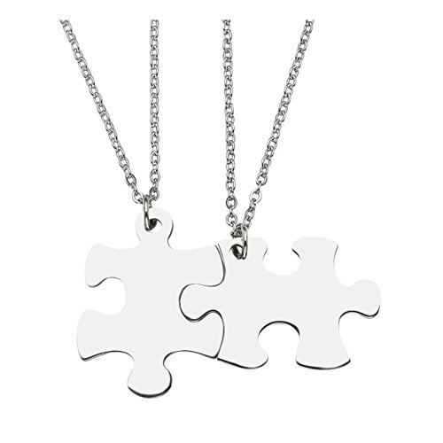 Jovivi 2pcs Stainless Steel Puzzle Piece Couple Necklaces Matching Dog Tag Pendant Set for Lover Best Friends by Jovivi