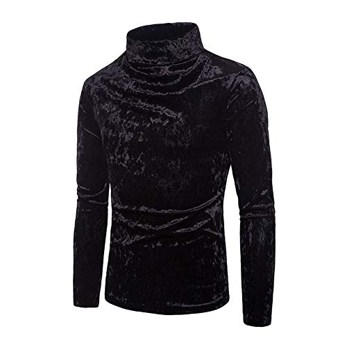 Mens Velvet Velour Long Sleeve T Shirts Turtleneck Slim Fit Pullover Top (Black, ()