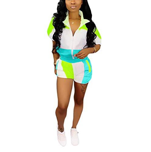 (Remelon 2 Piece Outfits Tracksuit for Women Color Block Lightweight Windbreaker Pullover Jacket Crop Top Pants Romper Set Blue)