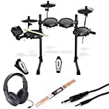 Alesis Turbo Mesh 7 Piece Electronic Drum Kit With a Pair of Drum Sticks + Headphones + 3.5 mm Interconnect Cable, 10 feet - Deluxe Accessory Bundle