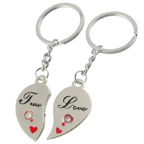 Pair Silver Tone Half Heart Pendant Lovers Keyring Keychain