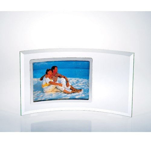 Horizontal Curved - Horizontal Curved Jade Glass Stainless Photo Frame - Large