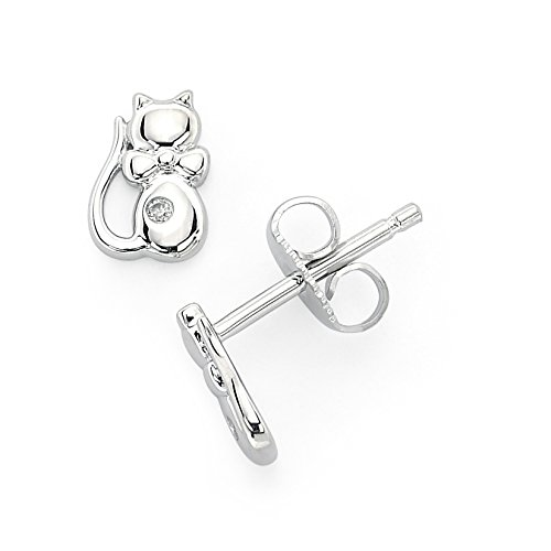 (Little Diva Diamonds 925 Sterling Silver .02 Cttw. Diamond Accent Cat Stud Earrings for Girls)