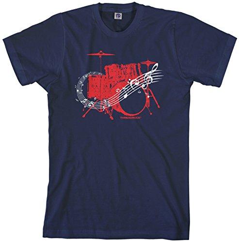 T-shirt Kit Drum (Threadrock Men's Drum Kit T-shirt M Navy)