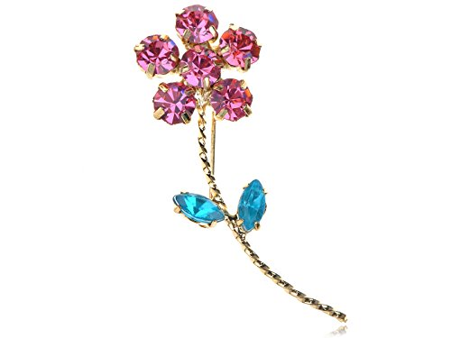 Daisy Rose Bouquet - Alilang Golden Tone Rose Pink Blue Crystal Rhinestone Daisy Flower Bouquet Pin Brooch