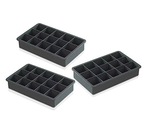 Joyoldelf Silikon Eis Würfel Behälter Eiswürfelform -3 Stück Premium Food Grade Silikon Eis-Behälter Formen, Macht Erstaunliche 1,3 '' Zoll Ice Cubes- (3er-Set) - Schwarz