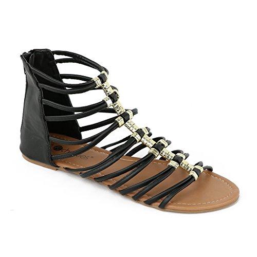 Chatties Kvinna Strappy Gladiator Sandal Svarta Guldet